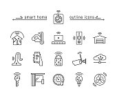 Vector illustration black line icon set of home automation isolated on white background. Home automation technology.