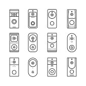 Smart home devices, Internet of Things set. Remote doorbell rings, appliances for house or office. Thin line art icons. Linear style illustrations. Vector flat design. Wireless doorbells.