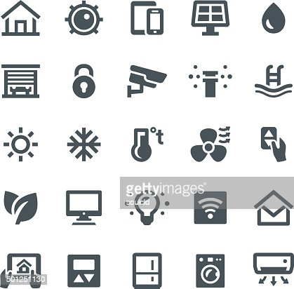 smart home icons vector art getty images. Black Bedroom Furniture Sets. Home Design Ideas