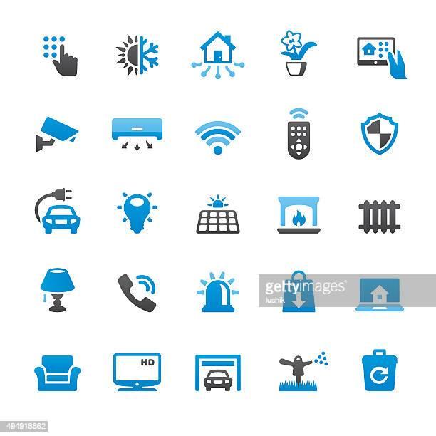 Elegante casa e Internet di cose relative icone vettoriali