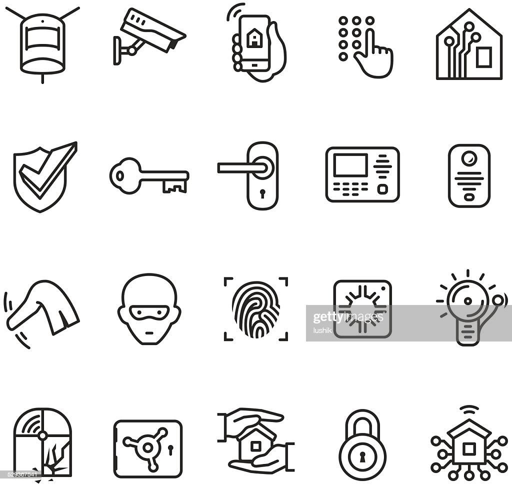 smart house security system icon vector art