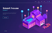 Smart house technology isometric illustration with icons. Intelligence home building landing page concept. Modern web page interface design. Internet of things. Vector eps 10.