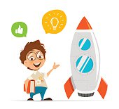Vector character illustration of smart kid inventor and rocket