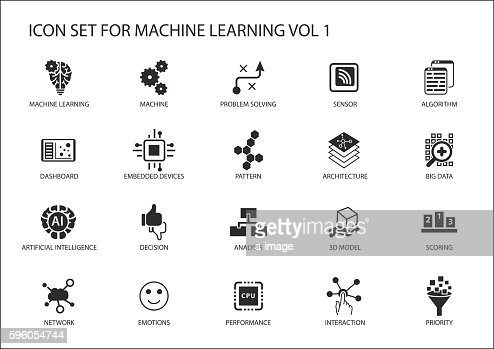 Smart machine learning vector icon set : clipart vectoriel