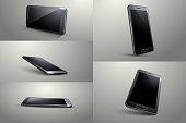 3D Smart phone. Black colour, Different angle.