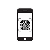 Smart Phone Scanning Qr Code Icon Barcode Scan With Telephone Vector Illustration