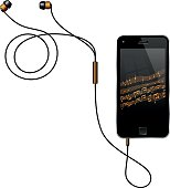 Semi Realistic Vector Illustration Of A No Name Smart Phone With Its Earphones