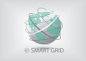 Smart power grid vector illustration with globe and lines