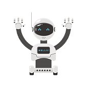 Smart robot on wheels with his hands raised up. Vector illustration for web site and print