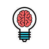 Smart Solution icon. Brain in a Bulb vector. Genial idea illustration.