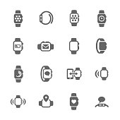 Simple Set of Smart Watch Related Vector Icons for Your Design