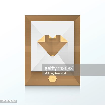 smartphone and love icon origami paper : Vector Art