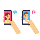 Female hand holding smartphone chatting with friend and boyfriend. Online social media communications and relationship concept. Flat cartoon vector illustration.