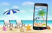 smartphone capture photo of beach with relax chair