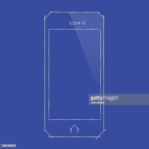 Smartphone concept design on blueprint document