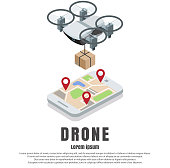 Smartphone controlled drone with parcel vector isometric illustration. Fast modern delivery by quadcopter concept design element with copy space for poster, banner etc.