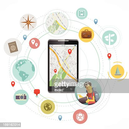 Smartphone for travelers : Vector Art