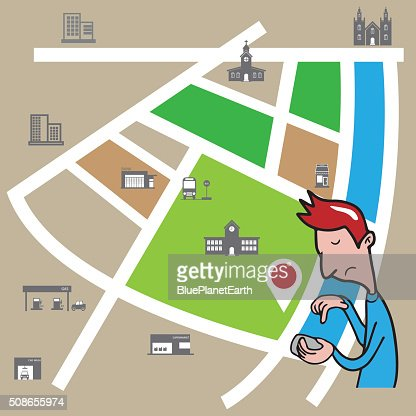 Smartphone man searching location : Vector Art