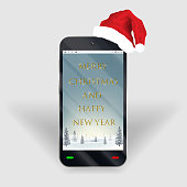 smartphone merry christmas happy new year screen