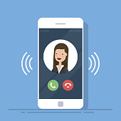 Smartphone or mobile phone call or vibrate with contact info on display, ring of phone icon. Flat cartoon cellphone ringing. Vector illustration
