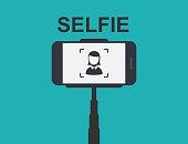 Smartphone Selfie. Tool Monopod. Vector Illustration.