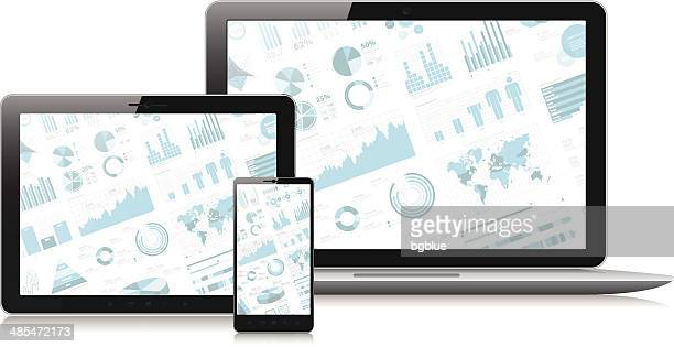 Smartphone, tablet pc and a laptop with infographic screen
