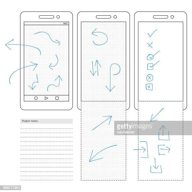 Smartphone template with dot grid and arrow symbols