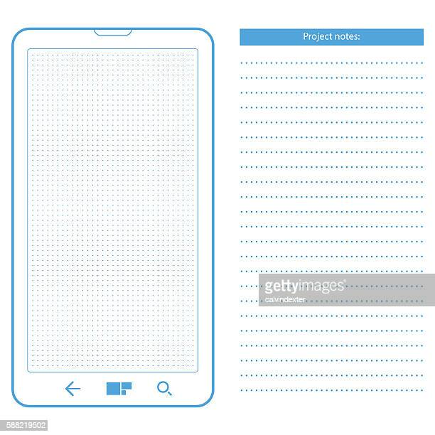 Smartphone template with dot grid