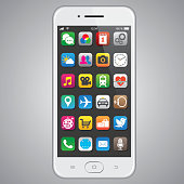 Smartphone with app icons. EPS10 with layers (removeable) and alternate formats (hi-res jpg, pdf).
