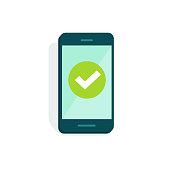 Smartphone with checkmark on display vector illustration, flat cartoon style of mobile phone with green tick isolated on white, concept of cellphone survey done, accept icon, vote checkbox, yes button
