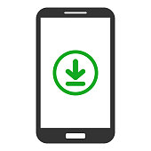 Smartphone with download button on screen. Vector icon.