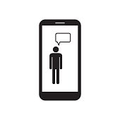 Smartphone with man icon and message box on the screen. Mobile device. Message icon. Black and white vector illustration.