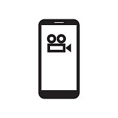 Smartphone with movie / film / video camera icon on the screen. Filmmaking. Recording. Cinema. Mobile device. Black and white vector illustration.