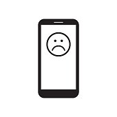 Smartphone with sad face icon on the screen. Unhappy face message. Black and white vector illustration.