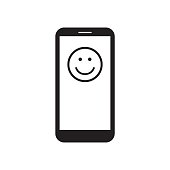 Smartphone with smile icon on the screen. Happy face message. Black and white vector illustration.