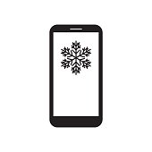 Smartphone with snowflake on the screen. Mobile device. Weather forecast. Winter message. Black and white vector illustration.