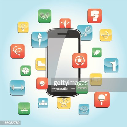 smartphone with sports app icons vector art getty images