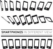 Smartphones in different view. Vector set on white background