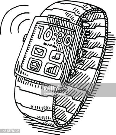 Smartwatch Wireless Technology Drawing : Vector Art