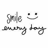 Smile every day word lettering and smile face vector illustration doodle style