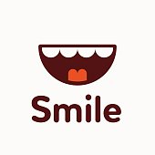Cute smile icon, cartoon style vector illustration