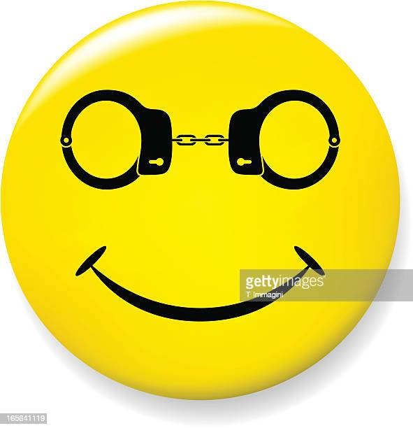 Smile pin with handcuffs glasses