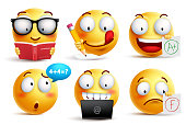 Smiley face vector set for back to school with facial expressions and student school activities isolated in white background. Yellow emoticons vector illustration.