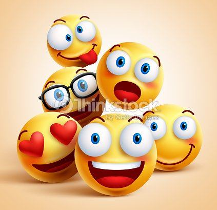 Smiley faces group of vector emoticon characters with facial expressions