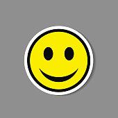 Smiley paper sticker. Vector happy face emoticon badge or label.
