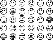 Set01 of smiley icons drawings doodles in black and white