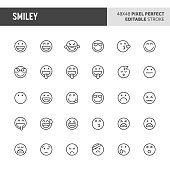 30 thin line icons associated with smiley and emoticon with funny expression, happy expression, sad expression and other expression are included in this set. 48x48 pixel perfect vector icon with edita