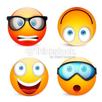 Carita Sonriente Con Ojos Azules Conjunto De Emoticonos Cara