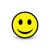 Smiley yellow icon. Vector emoticon happy face illustration.