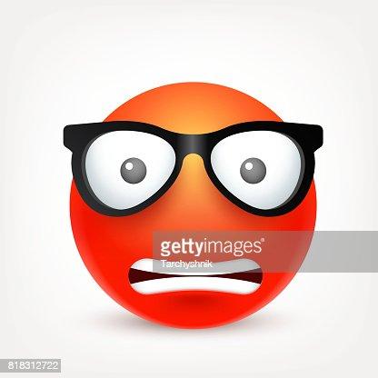 Smiley Emoticon Cara Roja Con Las Emociones Expresión Facial Emoji